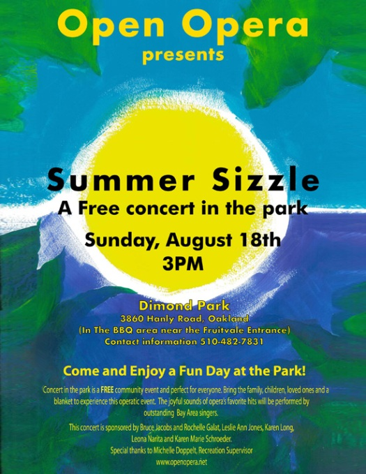 Opera at Dimond Park in Oakland, CA this Sunday 3PM
